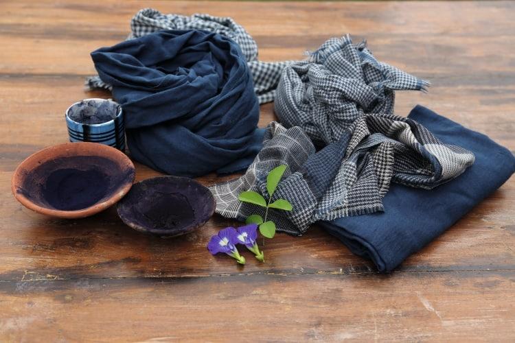 Gamchha couleur bleu pour la soie