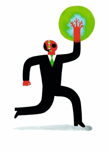 Un personnage en costard tient la Terre dans sa main, écologie