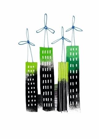 Illustration, des entreprises commencent à devenir vertes, écologie, éoliennes sur le toit